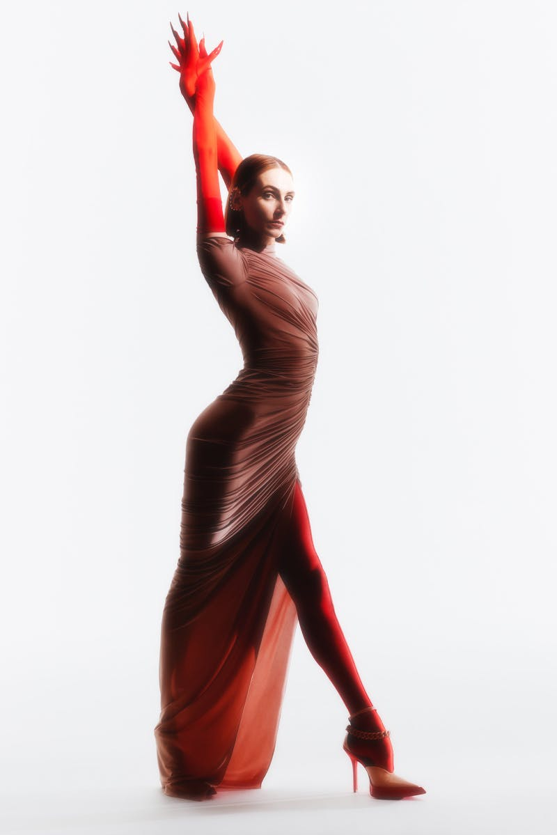 Mugler Campaign Hyper Gathered Jersey Dress Resort 20