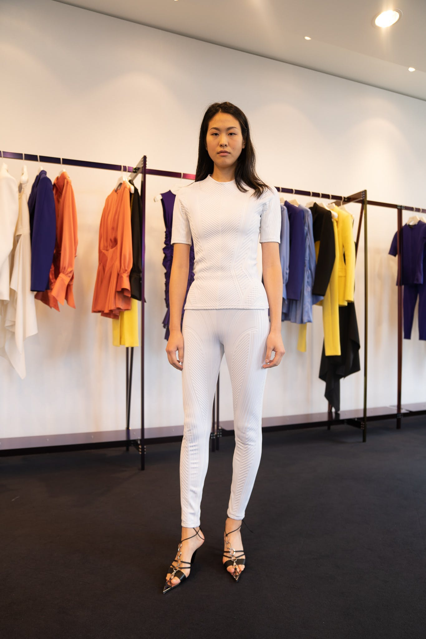 Mugler Showroom Short Sleeve Scuba Shirt in White Scuba Legging in White Tie Up Heels in Black Spring 20 RTW
