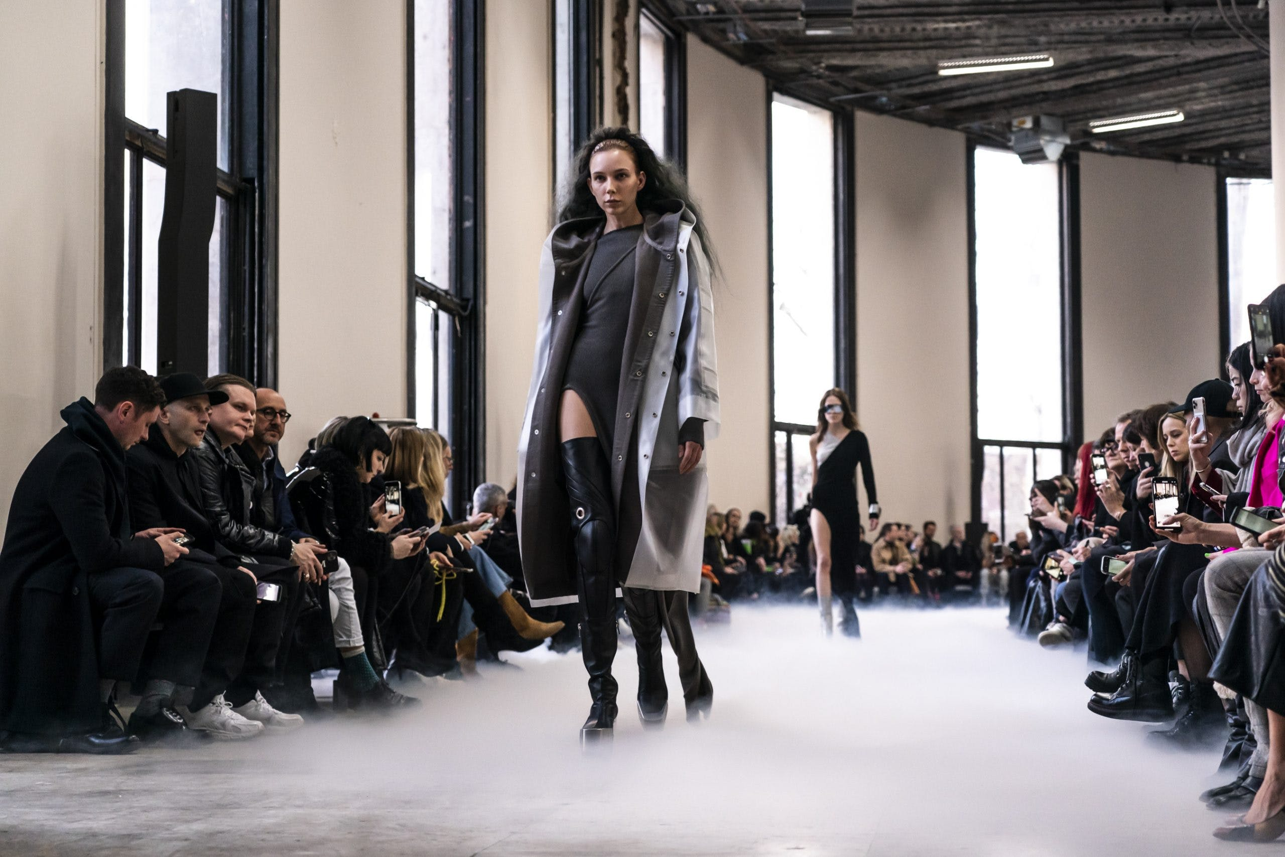 Rick Owens Runway Transparent Hooded Rain Coat Hooded Oversized Coat in Dust Slit Dress in Grey Thigh High Kiss Grill Boots in Black Leather Womens FW20 Performa