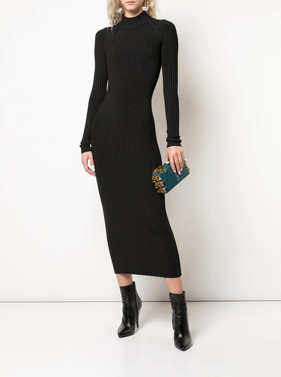 Dion Lee Ribbed Dress in Black Spring 19 RTW