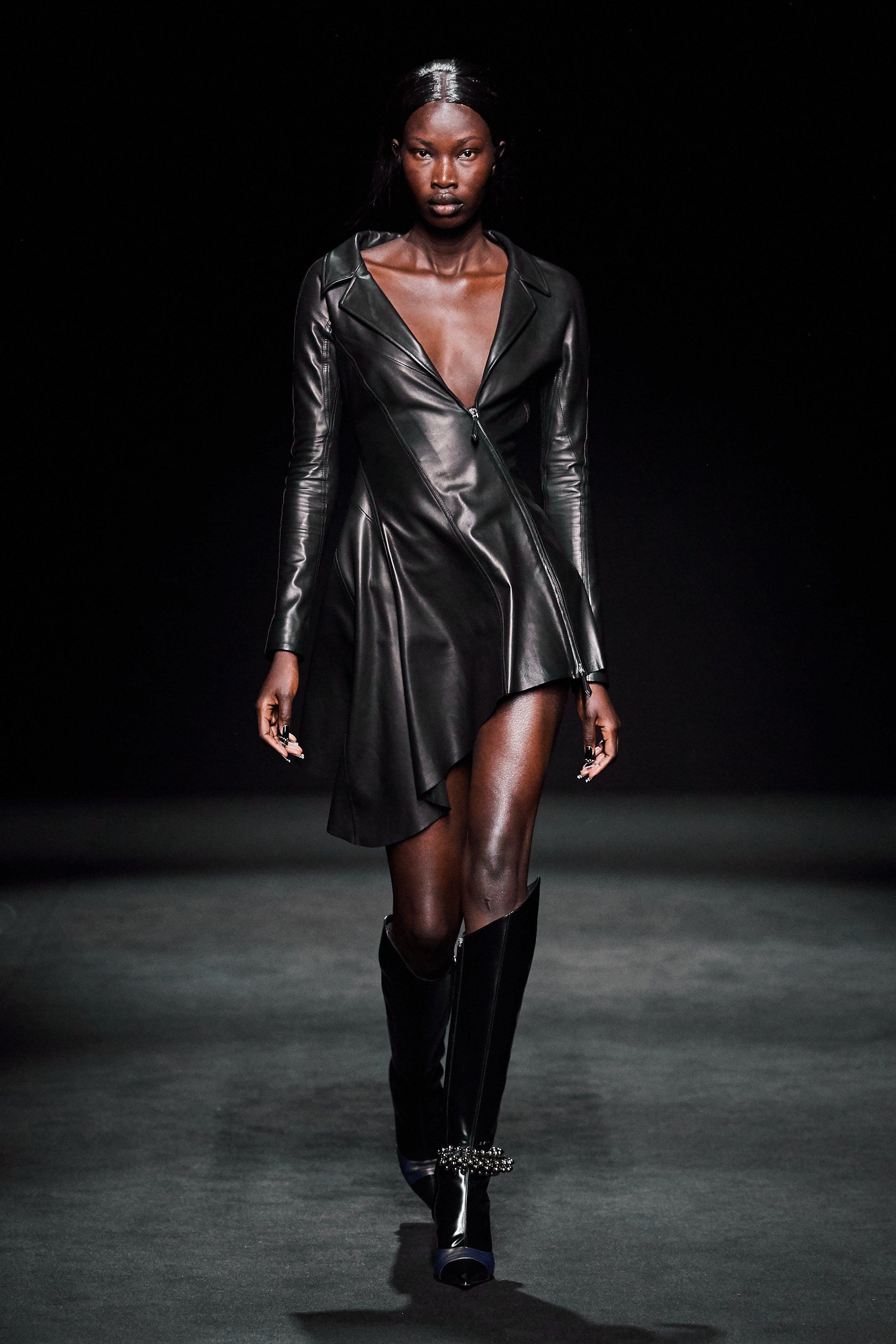 Mugler Runway Asymmetrical Zip Leather Ruffle Dress Fall 20