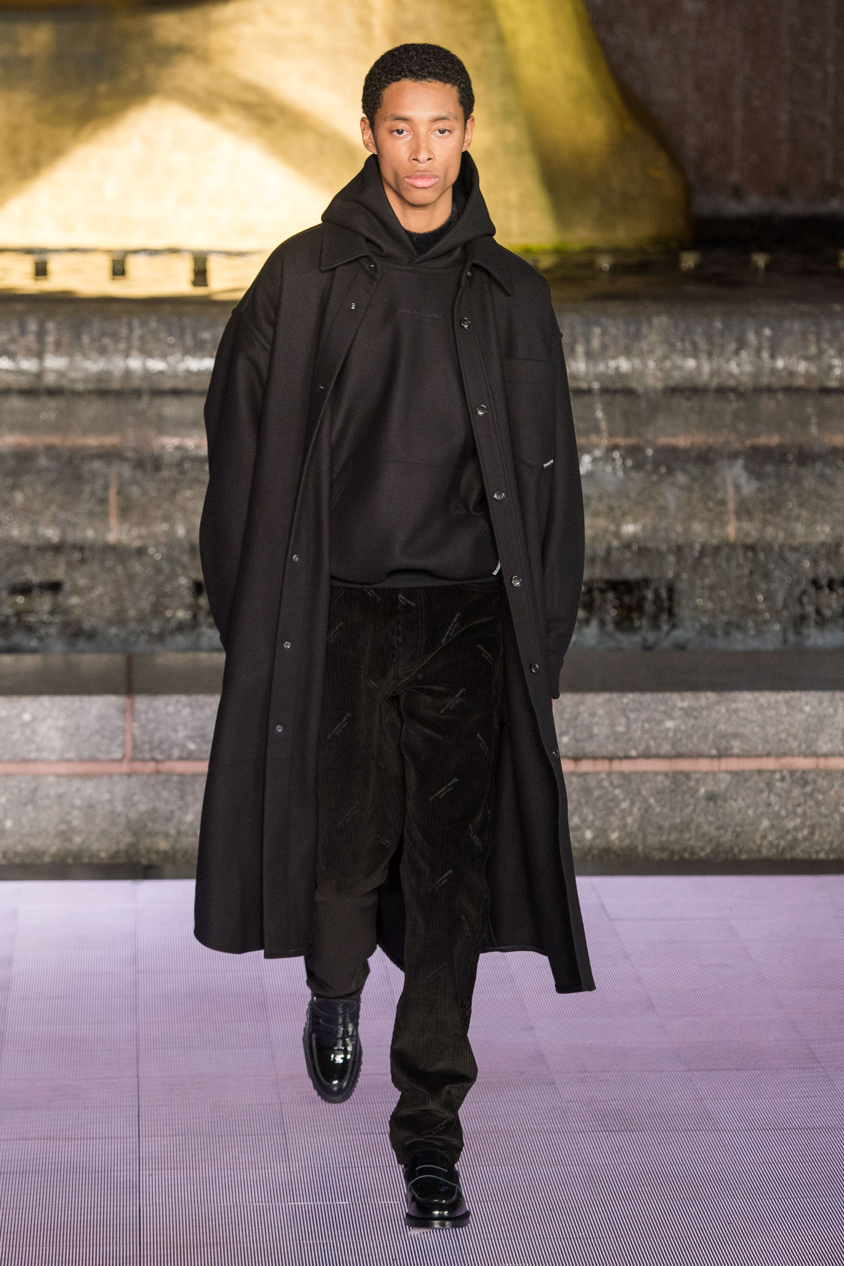 Alexander Wang Runway Oversized Shirt Coat in Black Hoodie in Black Corduroy Logo-Print Trousers in Black Spring 20 RTW