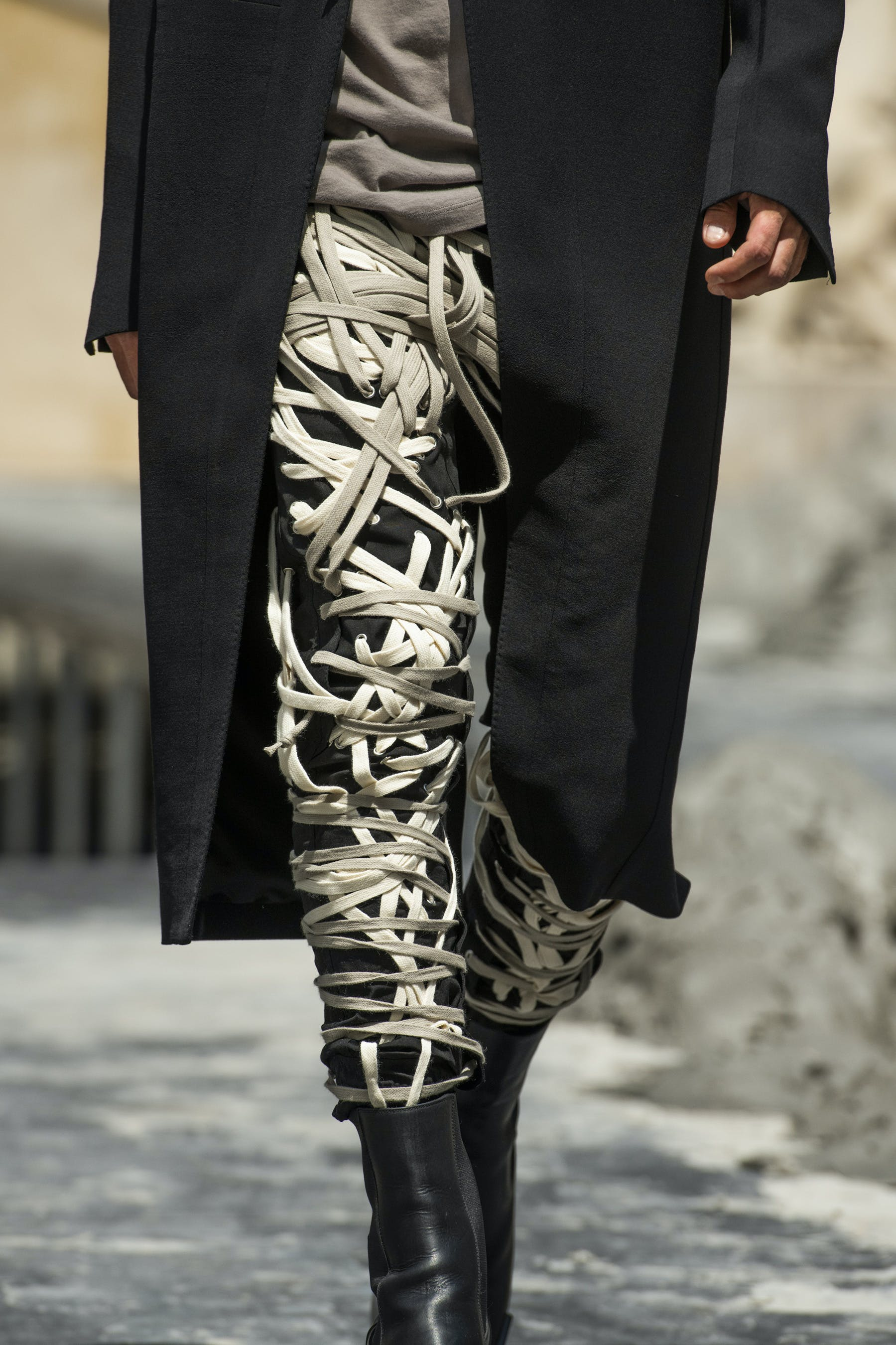 Rick Owens Runway Details Thomas White Megalace Front Pants Kiss in Black Leather Mens SS20 Tecautl