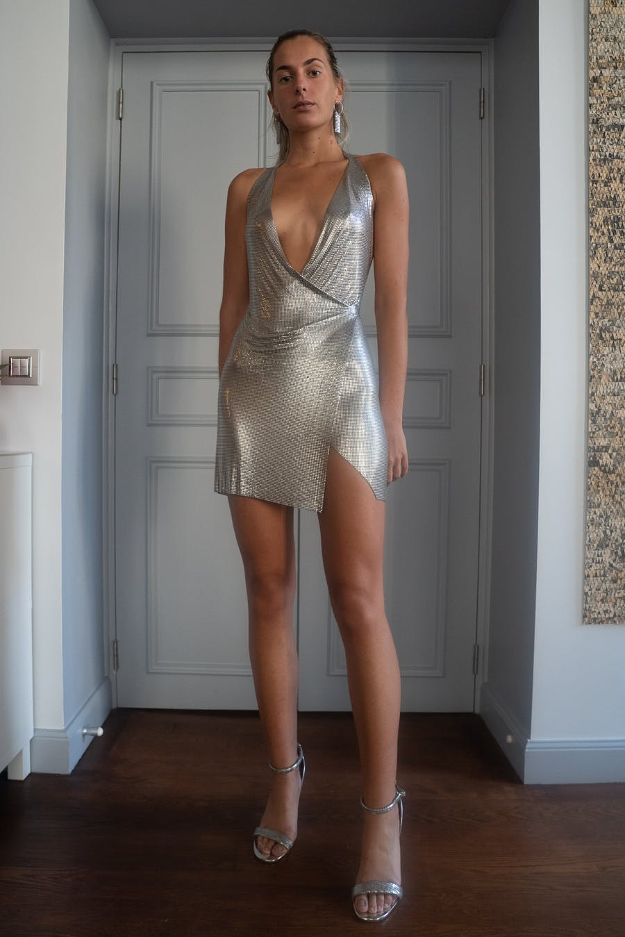 Fannie Schiavoni Maria Dress in Silver SS20