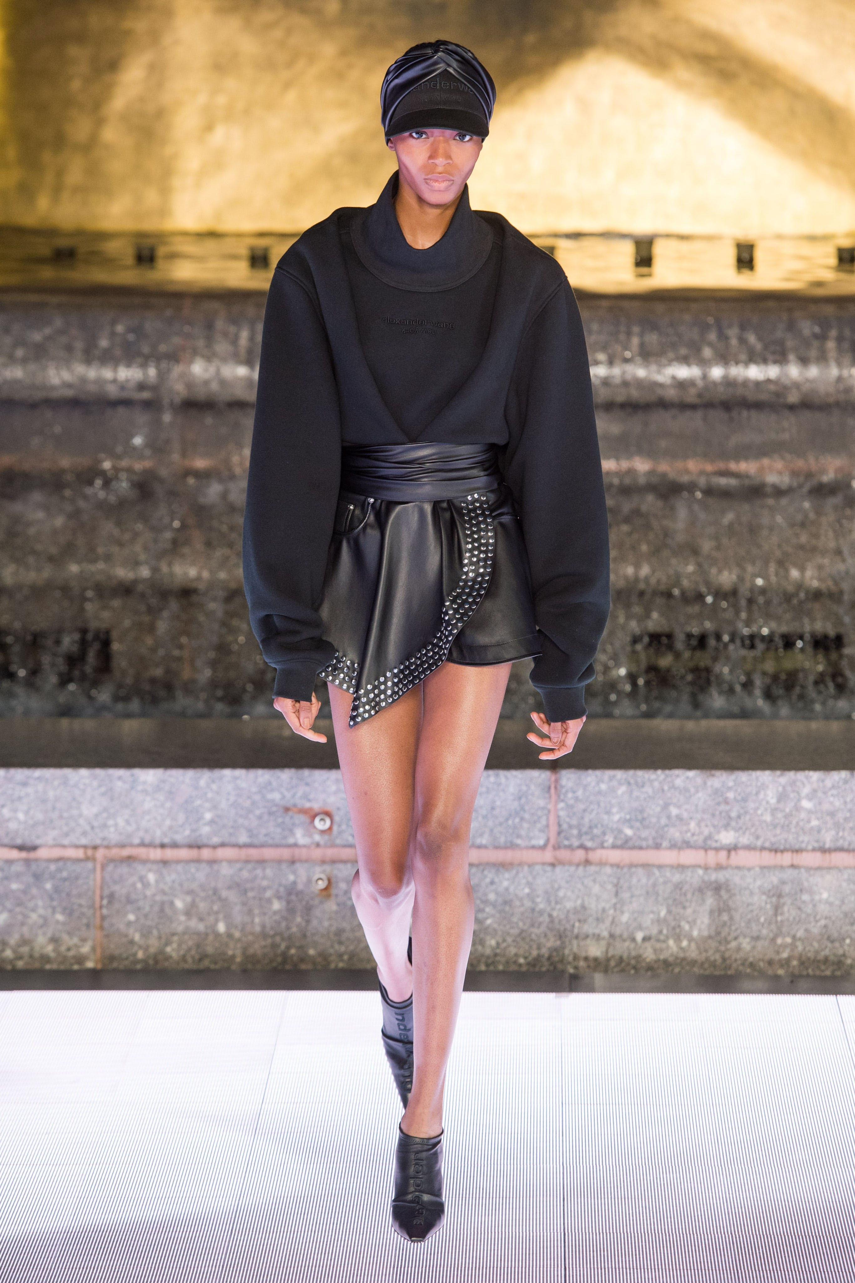 Alexander Wang Runway Oversized Turtleneck Logo Pullover Studded Wrap Skort in Black Leather Vanna Mule in Black Spring 20 RTW