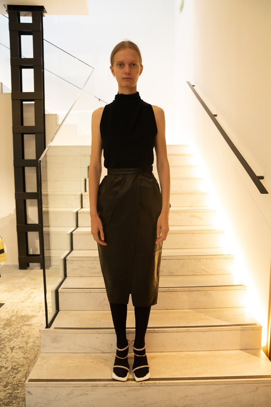 Proenza Schouler Mock Neck Tank in Black Skirt in Black Leather Spring 20 RTW