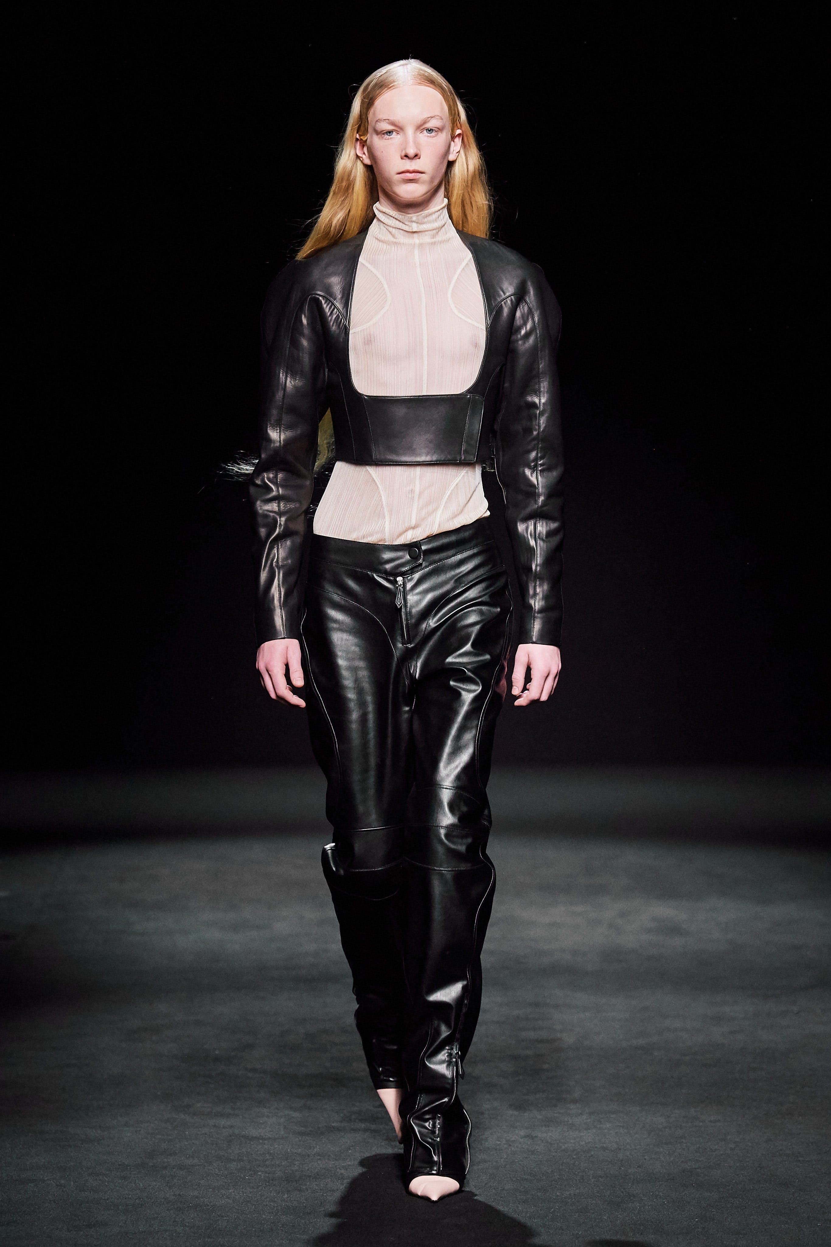 Mugler Runway Cropped Belted Leather Jacket Loose Fit Trousers in Black Leather Fall 20