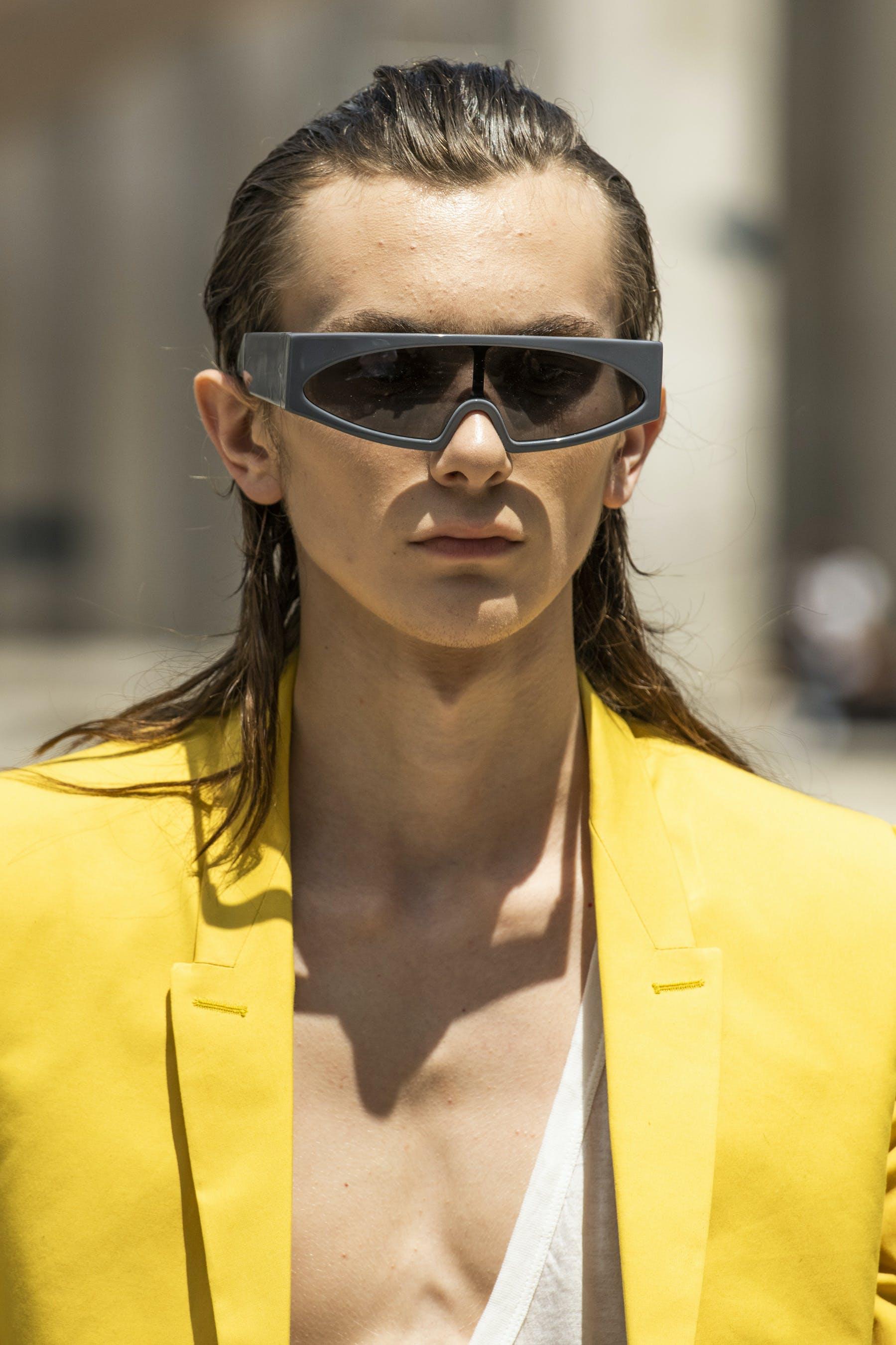 Rick Owens Runway Details Retro Futuristic Grey Rectangular Framed Sunglasses Tatlin Blazer In Lemon Yellow Mens SS20 Tecautl