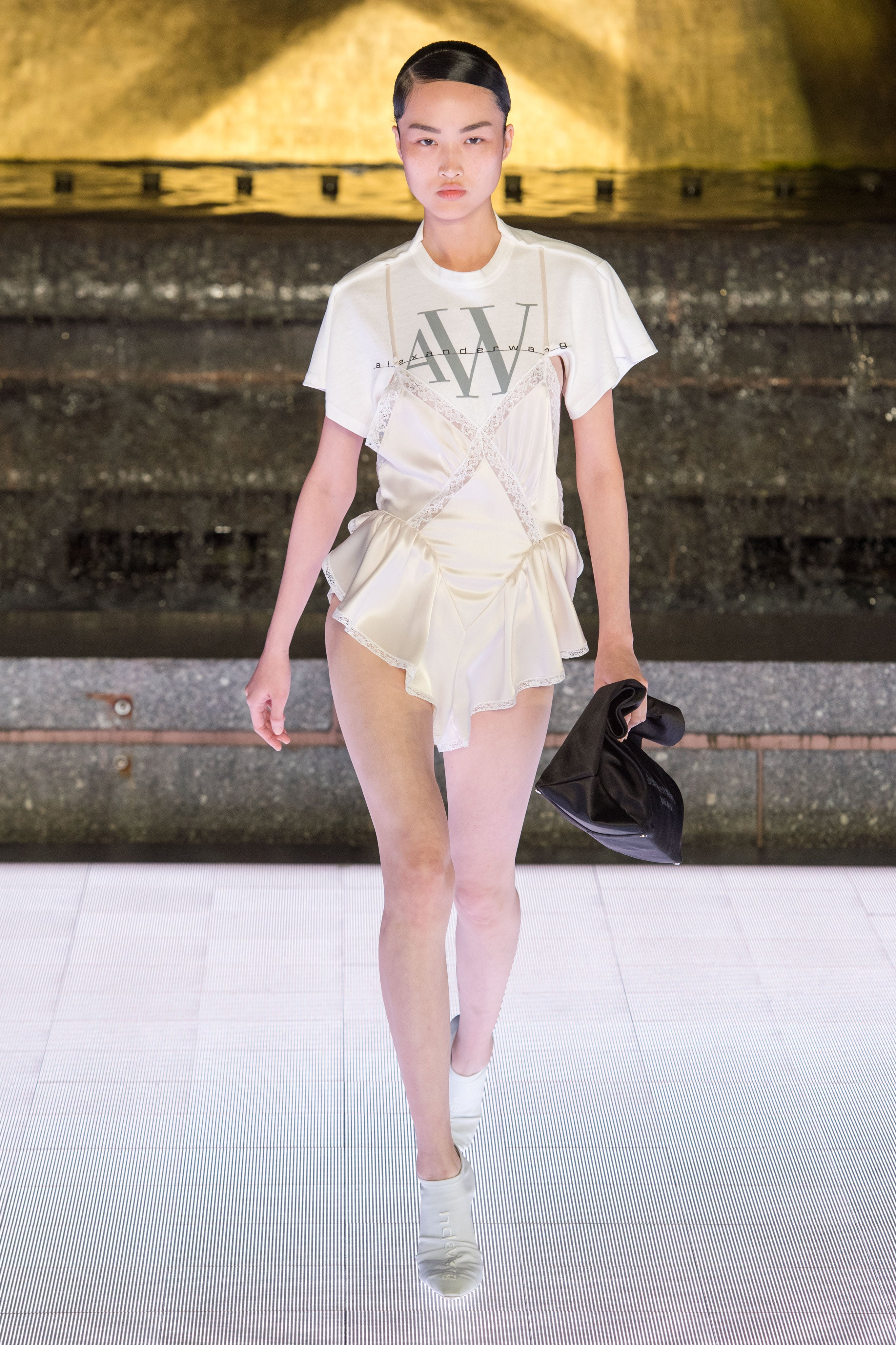 Alexander Wang Runway Logo T-Shirt Slip Hybrid Dress Vanna Mule in White Spring 20 RTW