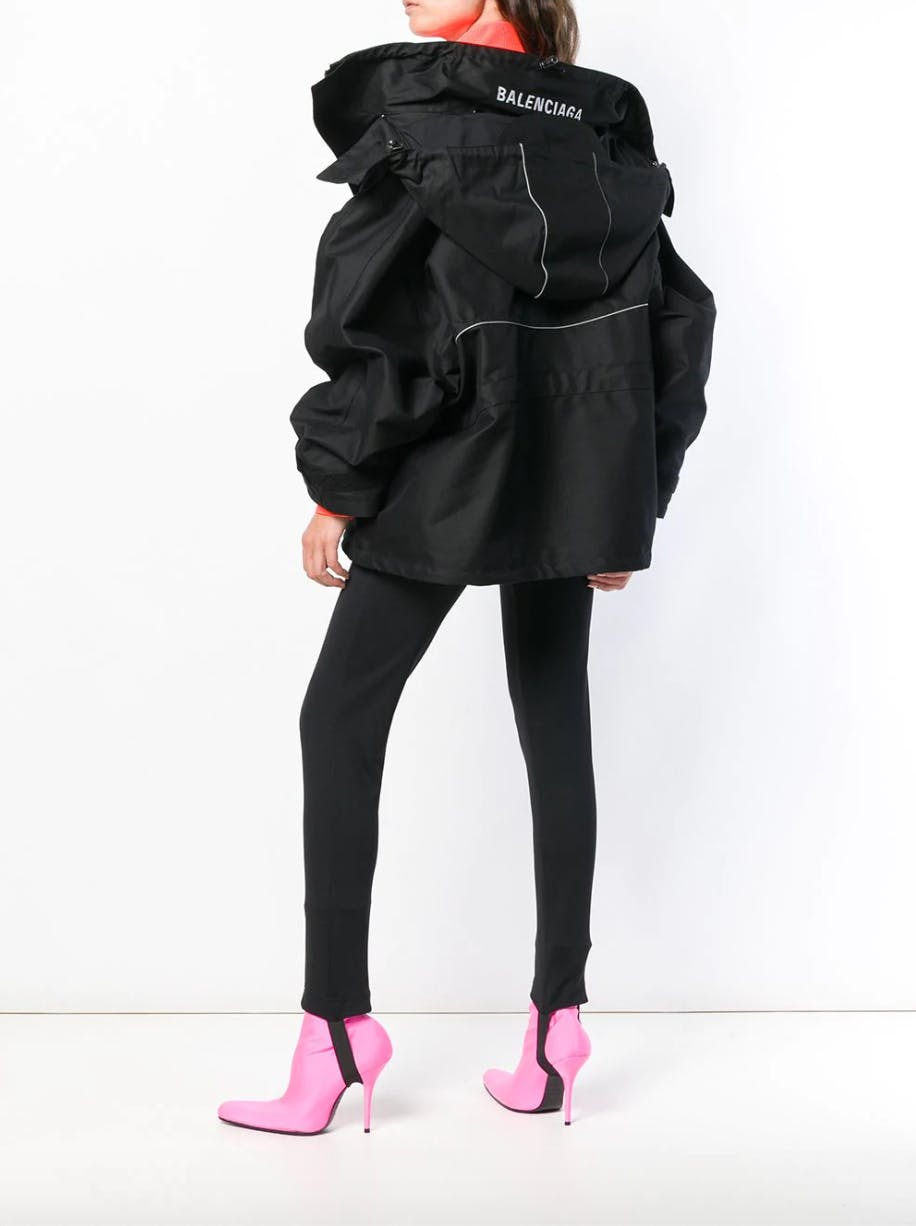 balenciaga oversized logo jacket black trousers pink heels