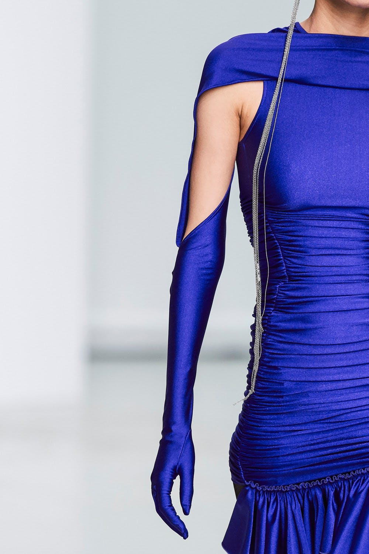 Mugler Runway Details Glove Sleeved Ruched Dress in Blue Spring 20