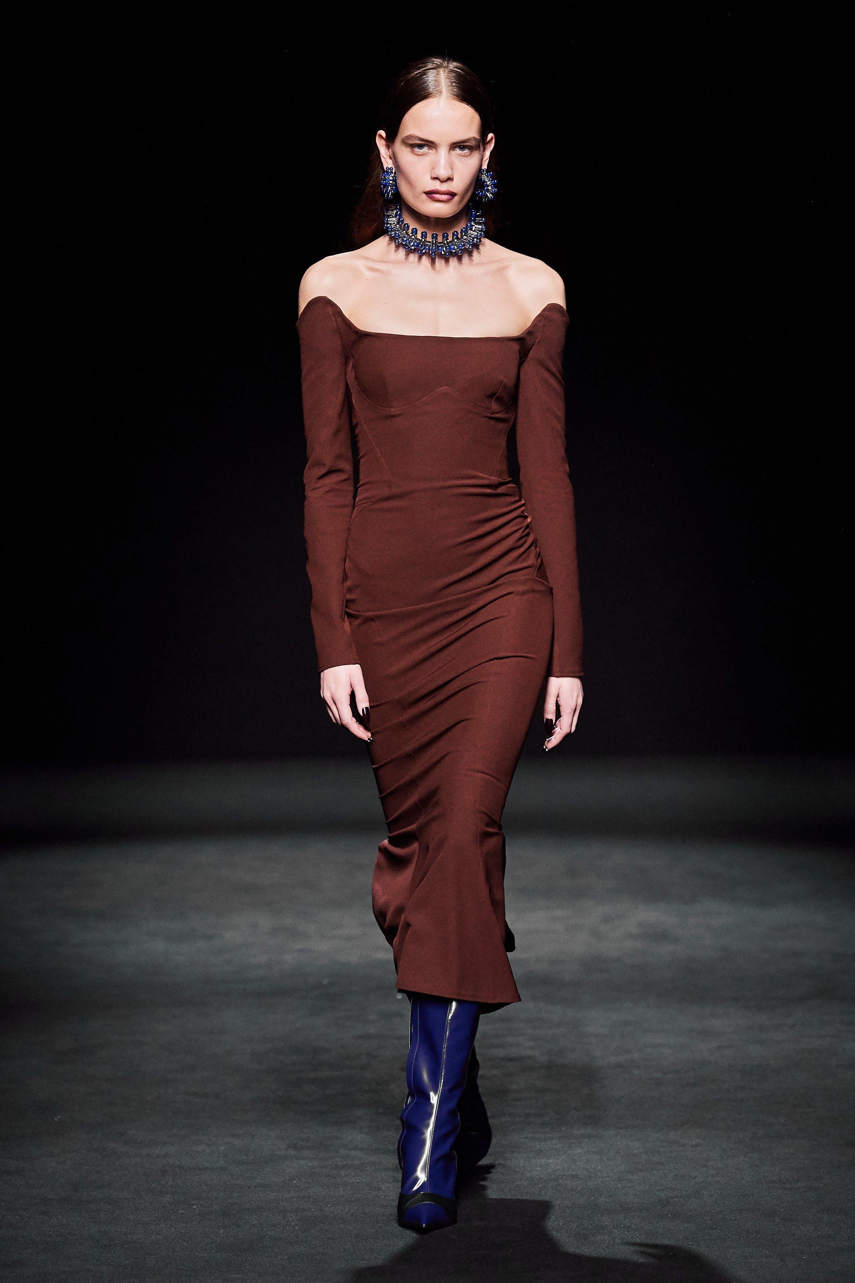 Mugler Runway Tech Scuba Pencil Dress in Brown Fall 20