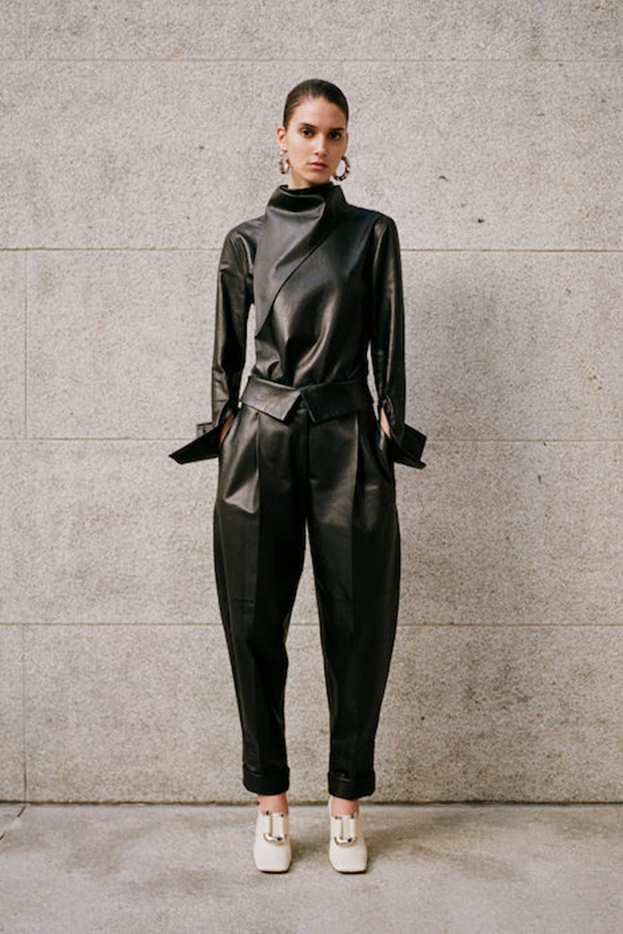 Proenza Schouler Leather High Neck Top in Black Leather Fold Over Loose Fit Trousers in Black Leather Pre Fall 20