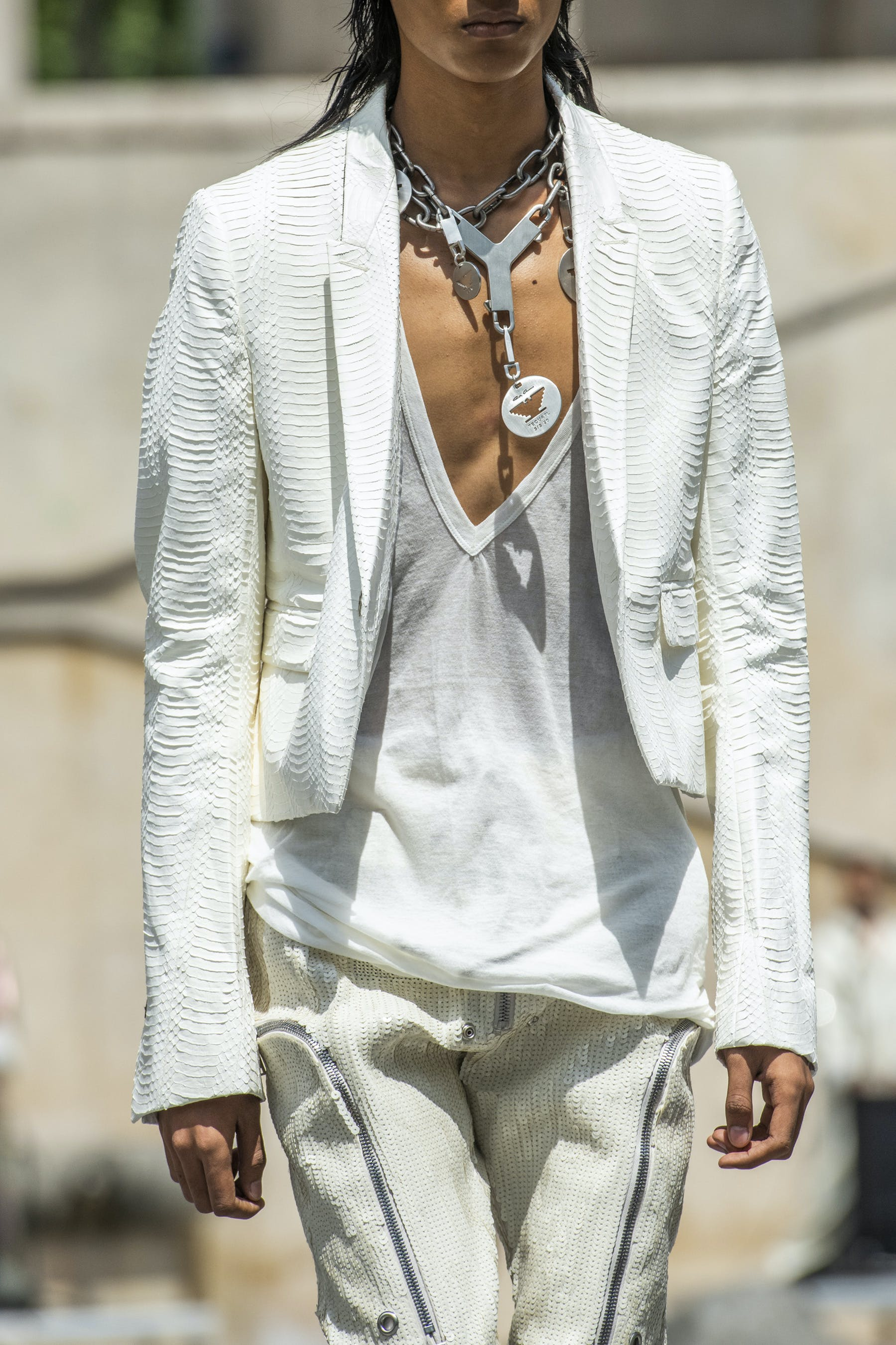 Rick Owens Runway Details Cropped Blazer in White Snake Skin Champion Collaboration V Neck T Shirt  Bauhaus Hand Embroidered Sequins Cargo Pants in White Mens SS20 Tecautl