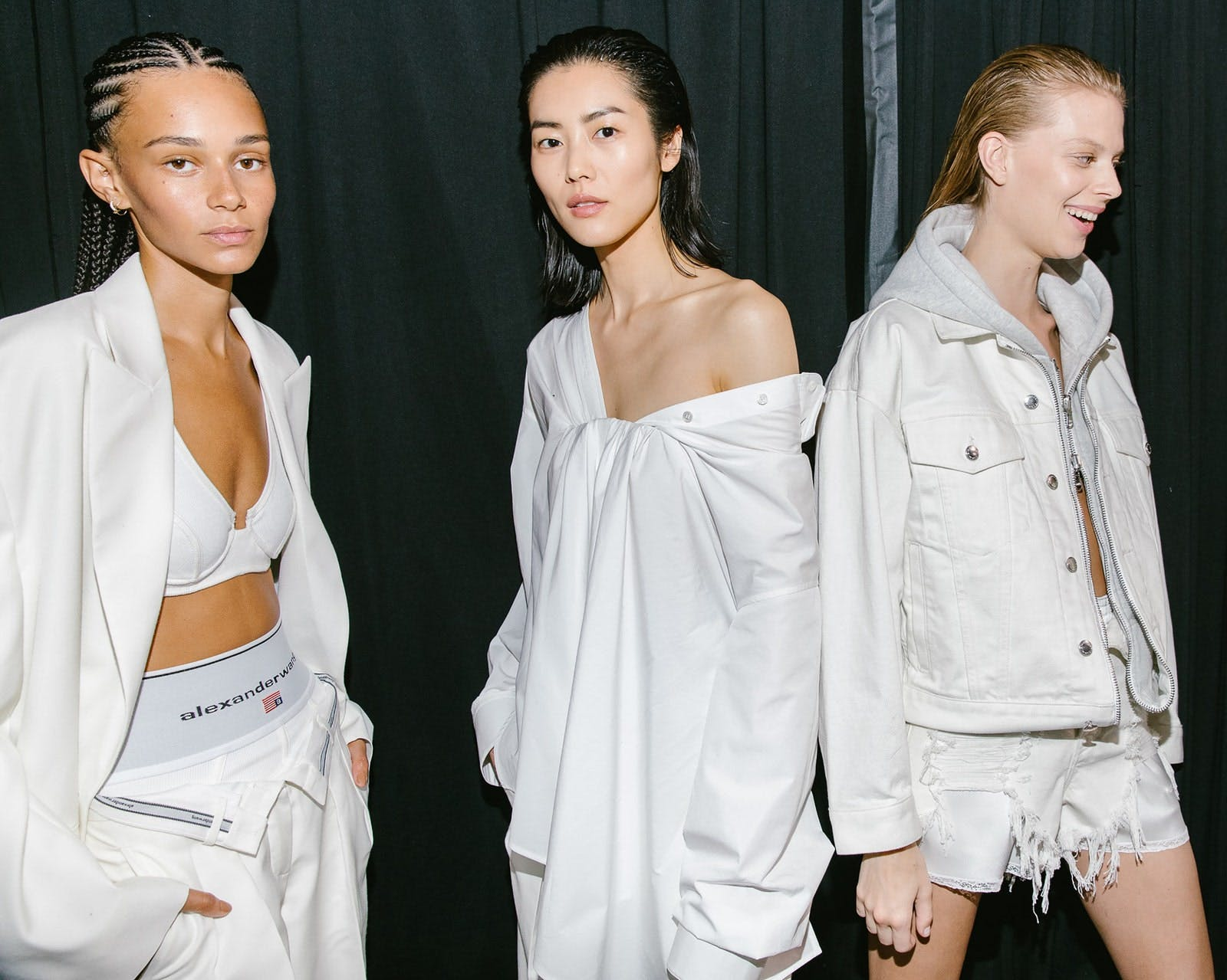 Models in Relaxed Oversized Blazer in White Tucked Bust Oxford Blouse in White and Game Hybrid Jacket