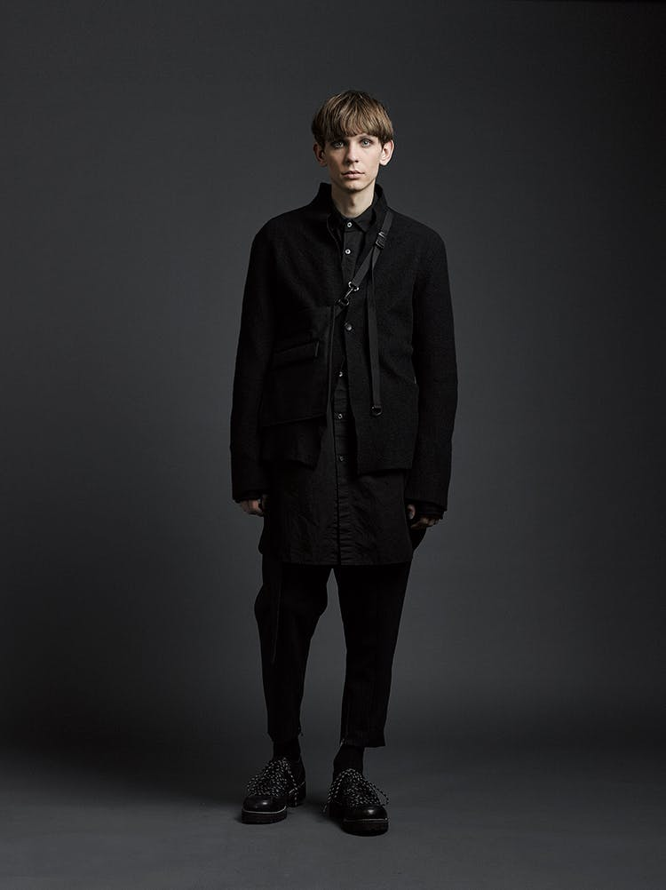 The Viridi-Anne Campaign Textured Stand Up Collar Jacket in Black Button Up Shirt in Black Loose Fit Cropped Trousers in Black AW19