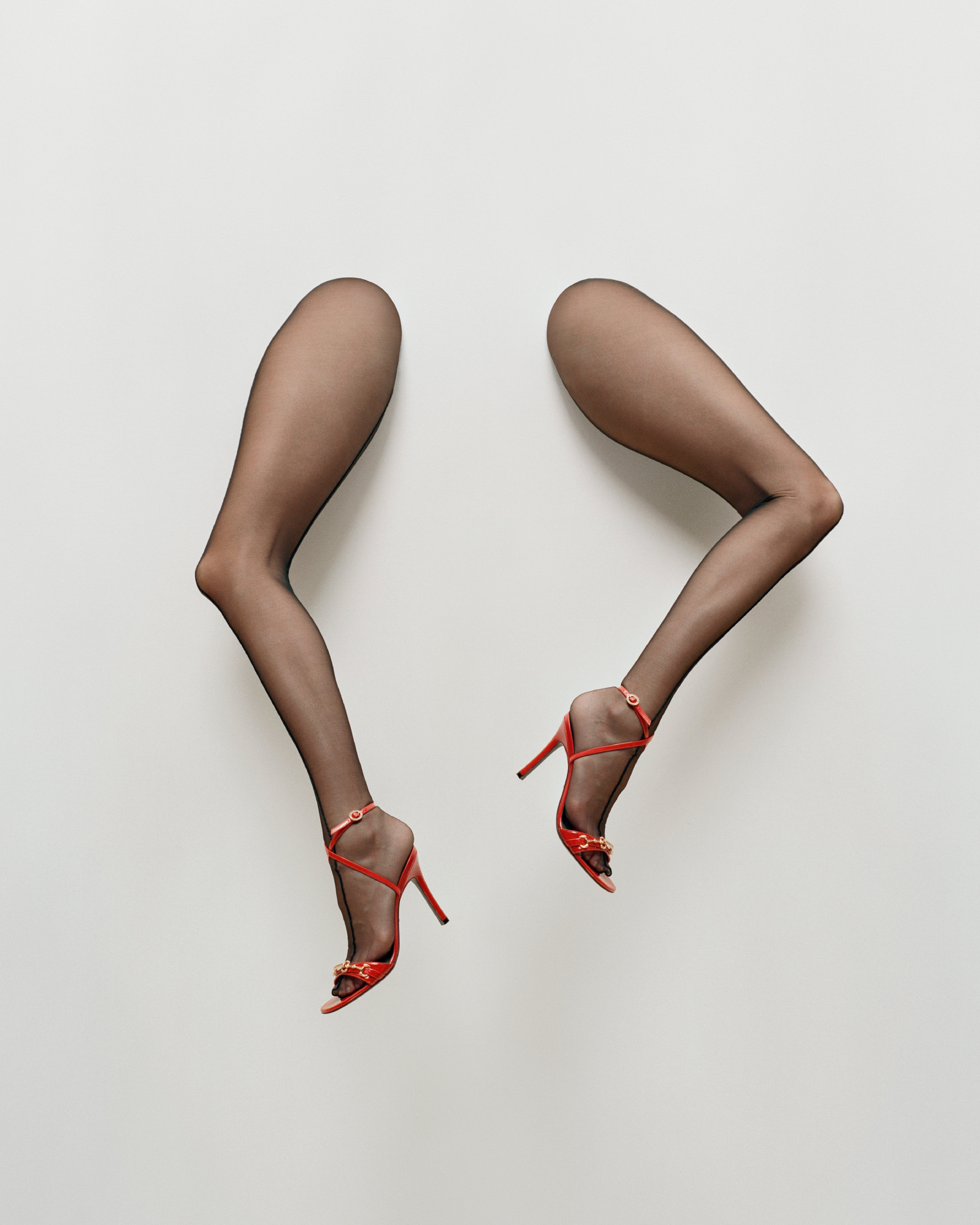 Kendall Jenner By Maurizio Cattelan Photographed by Campbell Addy For Garage Magazine Tights By Mugler Shoes by Gucci