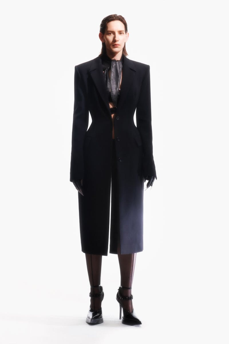 Mugler Campaign Scuba Tech Coat in Black Resort 20
