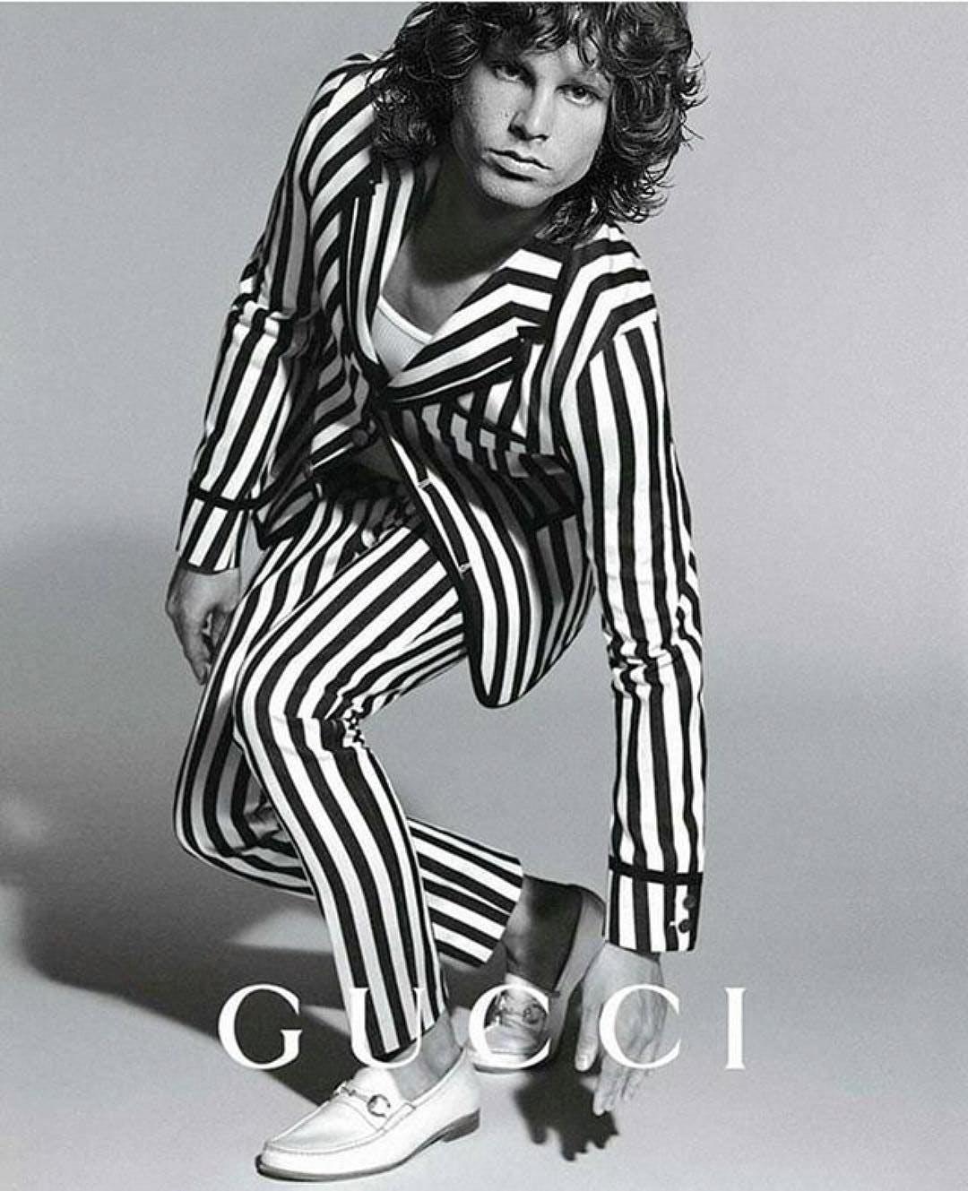 Jim Morrisson wearing Gucci striped suit vintage campaign