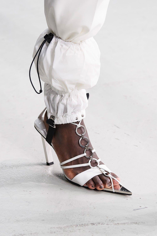 Mugler Runway Details Parachute Drawstring Pants in White Tie Up Pointed Heels in White Spring 20