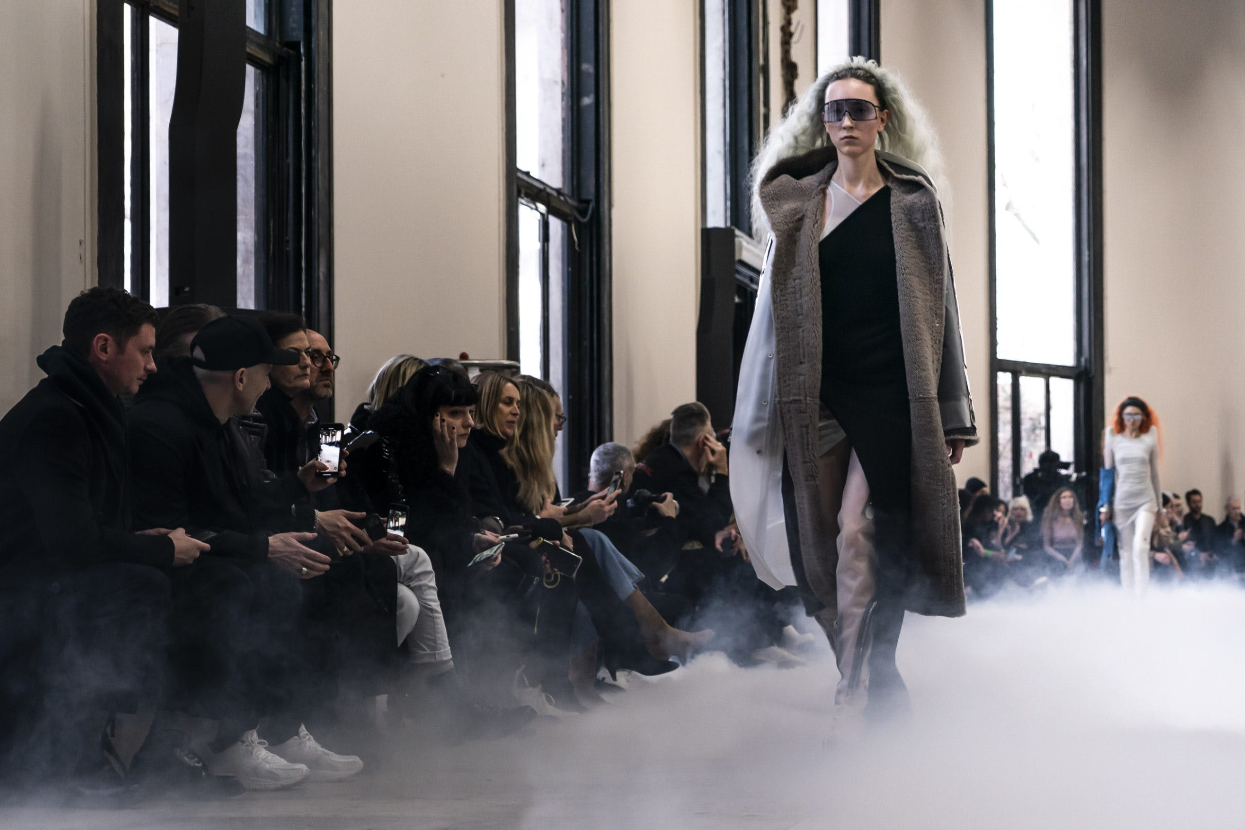 Rick Owens Runway Shield Sunglasses in Blac Oversized Hooded Sherling Coat in Dust  One Shoulder Slit Dress in Black Womens FW20 Performa