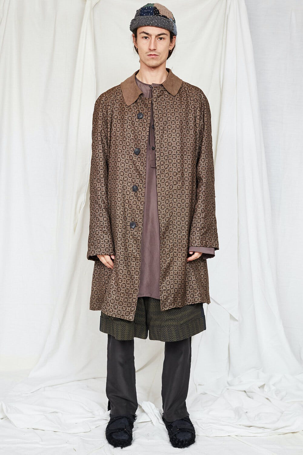 By Walid Campaign Rico Suede Collar Coat in Brown AW20