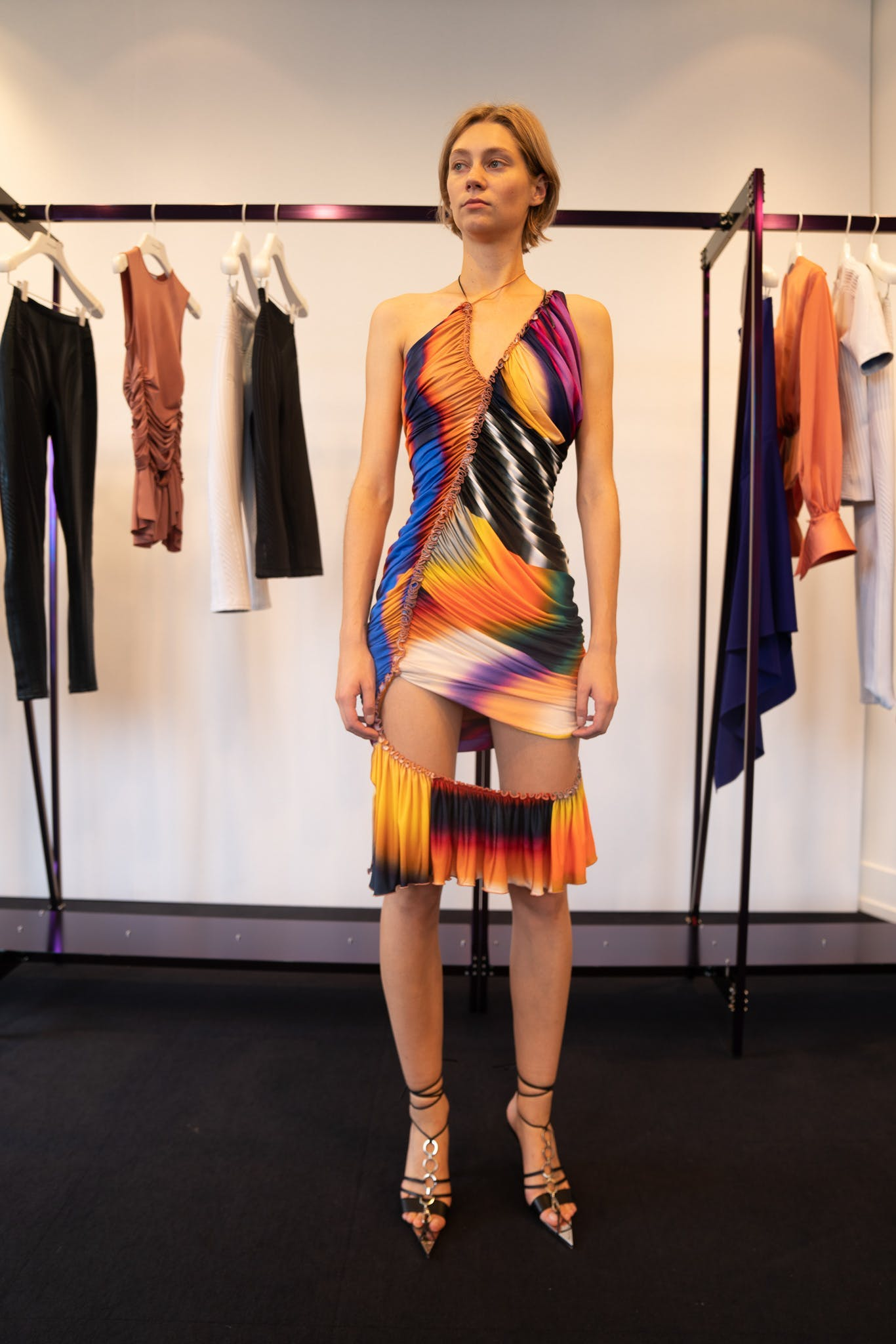 Mugler Showroom Sleeveless Multi-Colored Print Cut Out Dress Spring 20 RTW