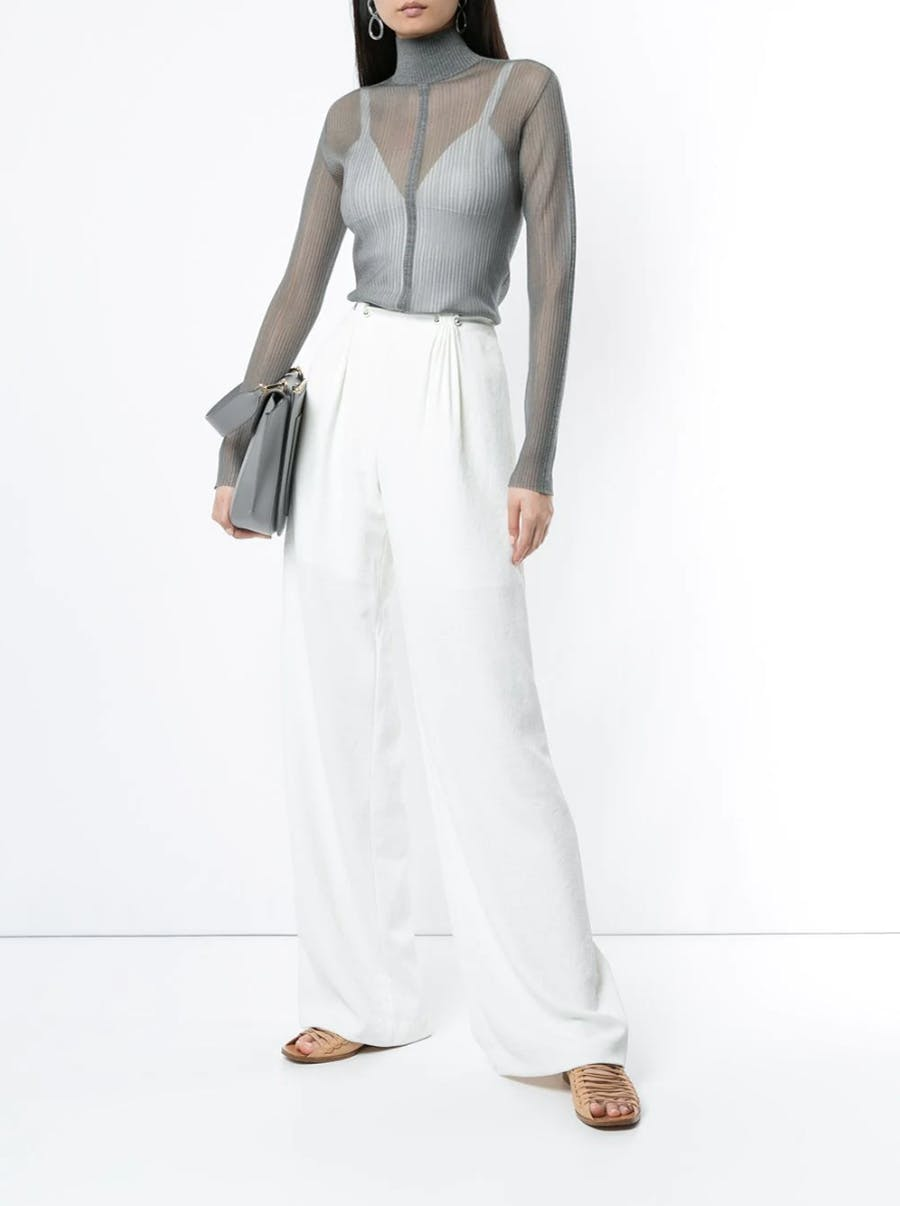 Dion Lee Sheer Fitted Top in Grey Loose Fit Trousers in White Spring 19 RTW