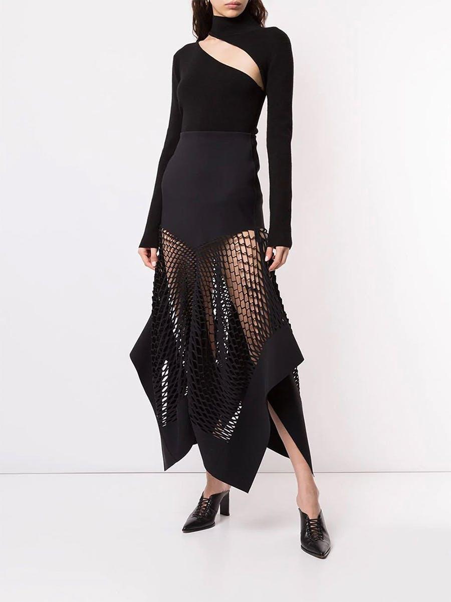 Dion Lee Hook Knitted Top in Black Mesh Panel Skirt in Black Spring 19 RTW
