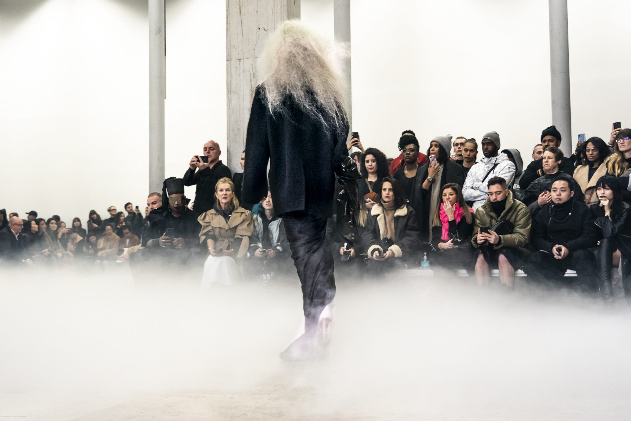 Rick Owens Runway Oversized Blazer Draped Skirt in Black Kowboy Kiss Boots With Transparent Heel Womens FW20 Performa