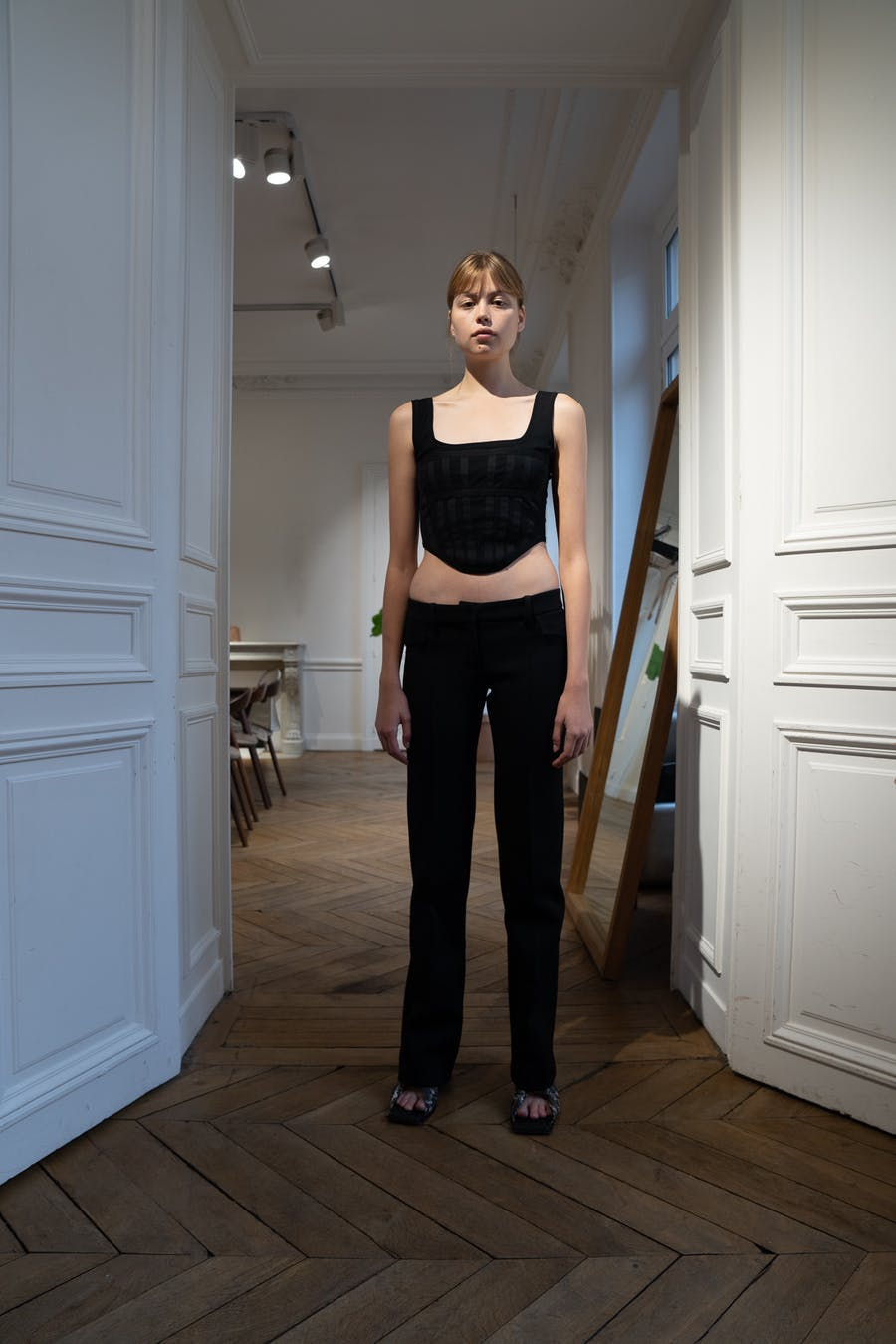 Dion Lee Backstage Sheer Jersey Corset in Blac Low Rise Pocket Trousers Spring 20 RTW