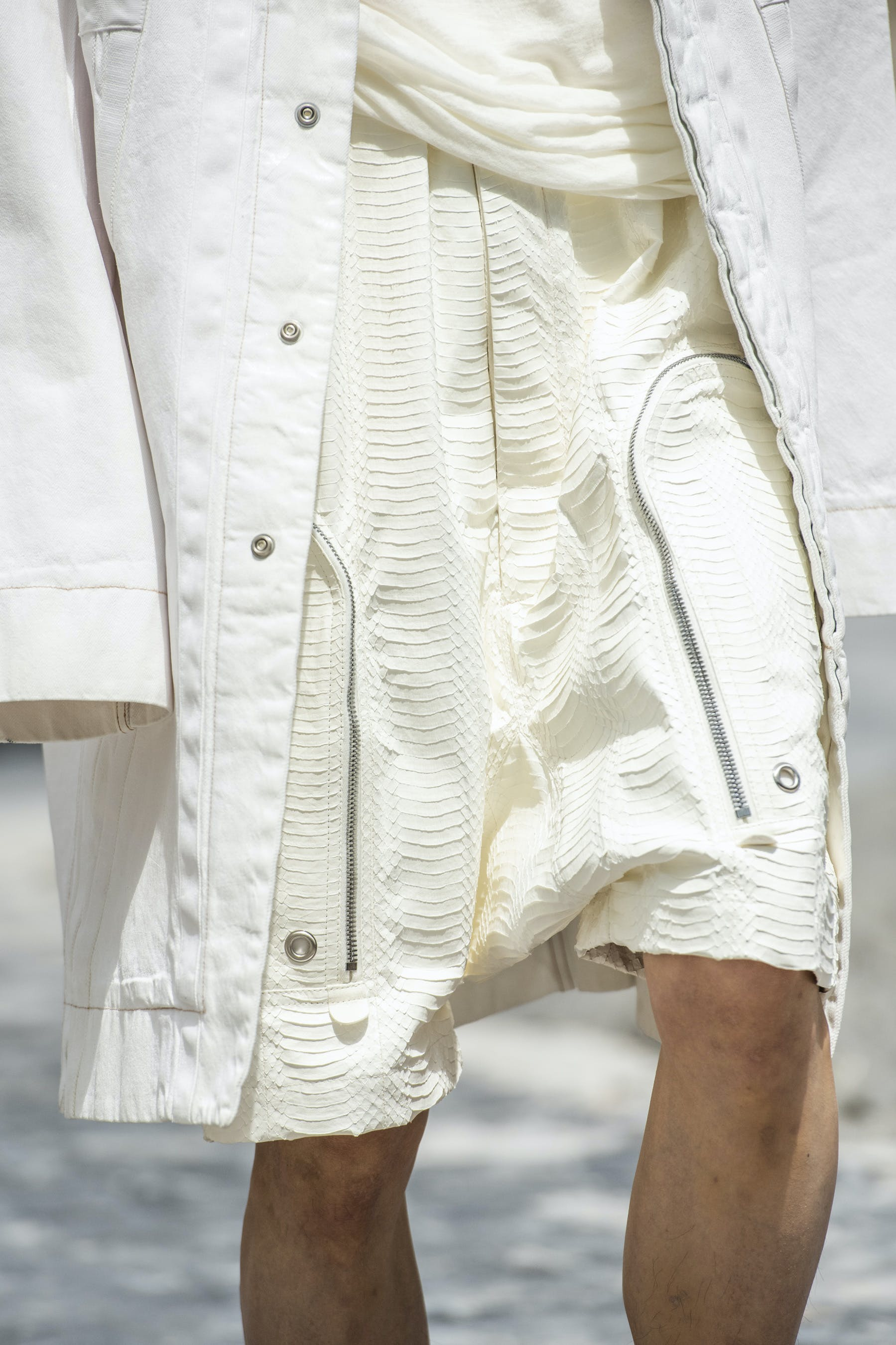 Rick Owens Runway Details Cargo Pods In Chalk Snake Leather Bauhaus Coat in White Mens SS20 Tecautl