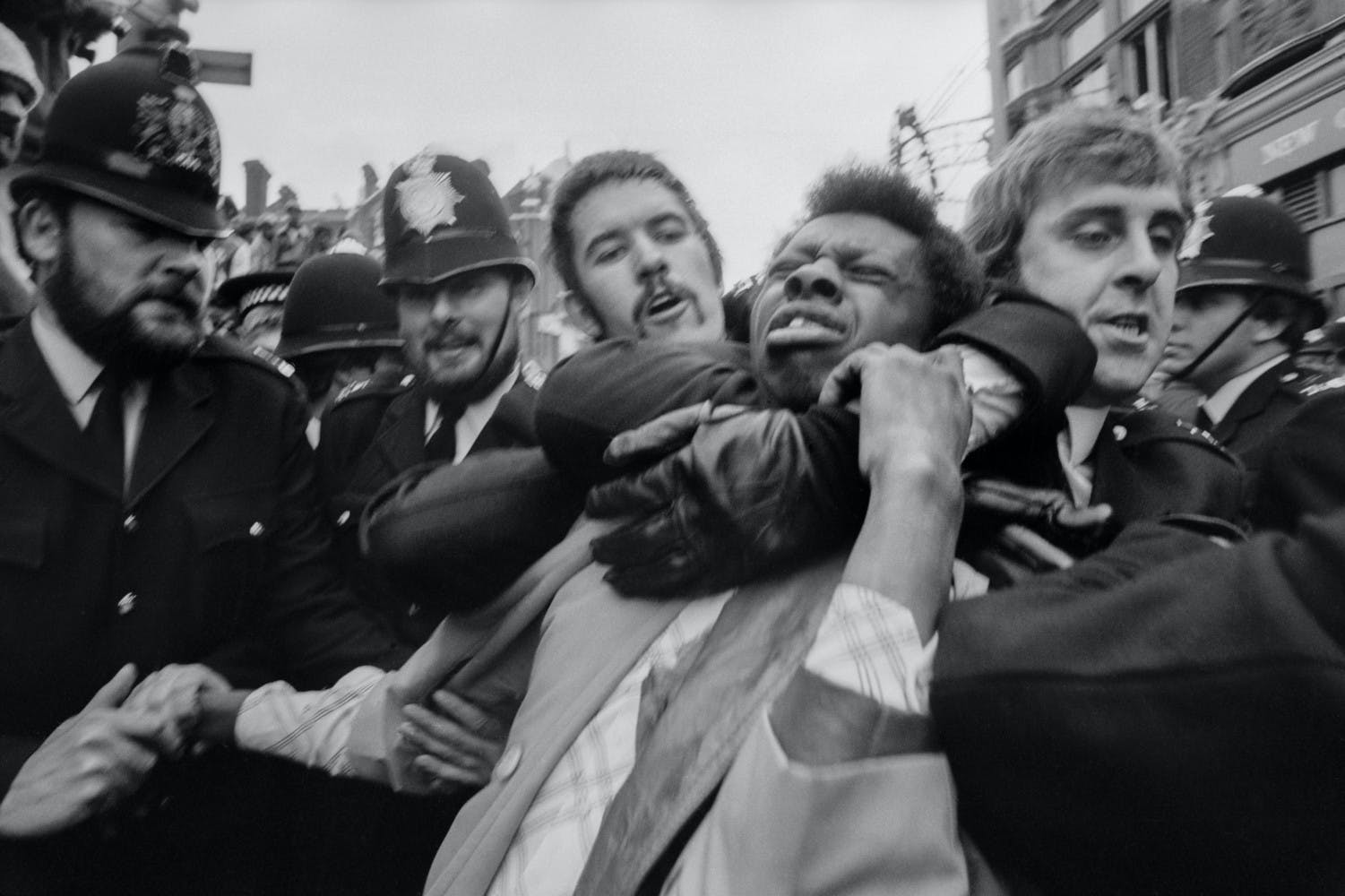 Peter Marlow Race Riots in Lewisham. Police making an arrest. England. London. GB. 1977.