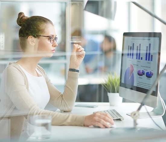 female analyzing data