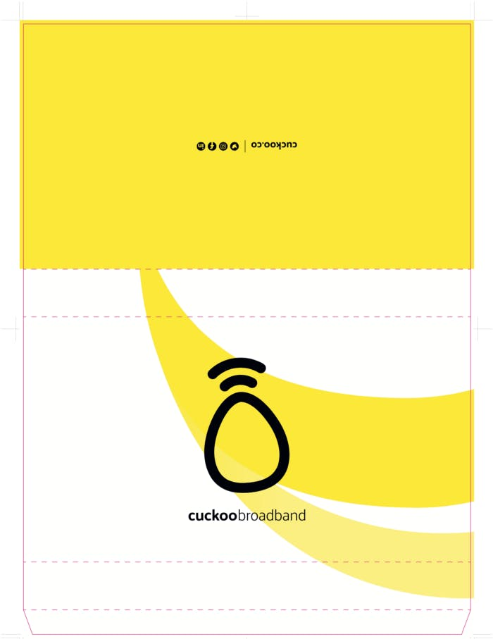 Cuckoo router box design with, cuckoo logo on.