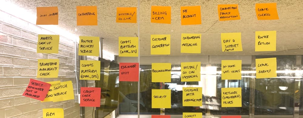 Sticky notes where people contributed design and feature ideas