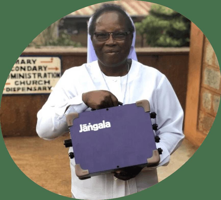 Lady holding a jangala box