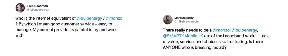 Quotes from twitter. Who is the internet equivalent of Bulb or Monzo.