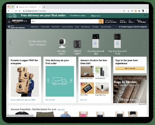 Amazons landing page
