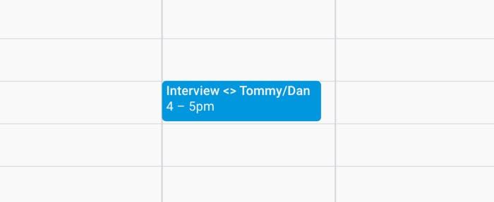 Calendar invite for an interview