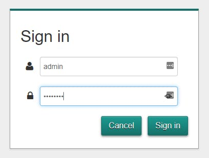 Sign in panel for router