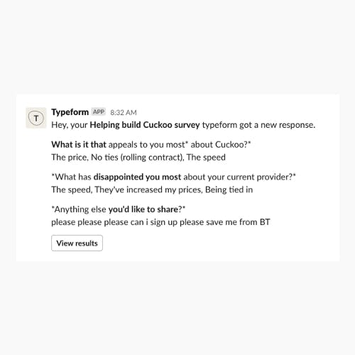 Typeform entry from someone helping with Cuckoo features