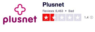 Trustpilot plusnet score 1.4 out of 5