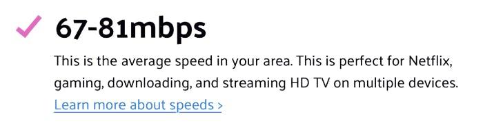 download speed range estimate