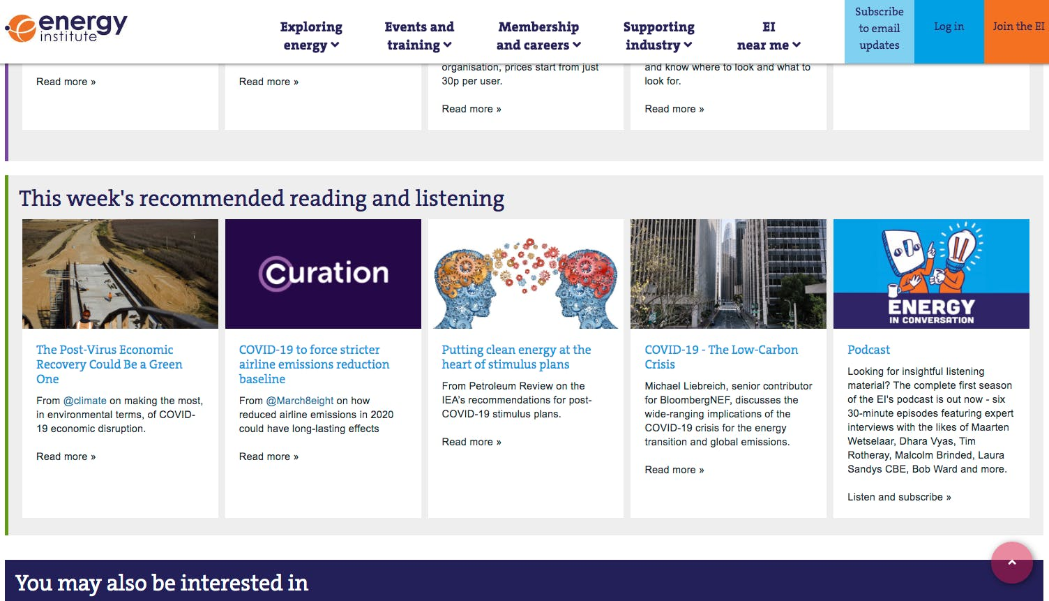 Curation features in Energy Institute's weekly recommended COVID-19 reading