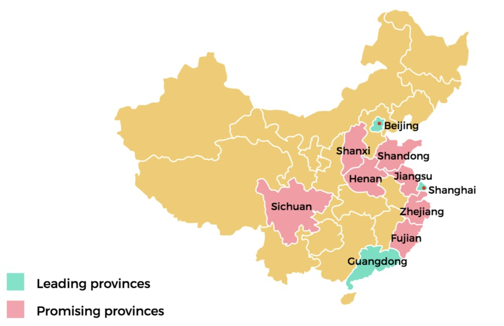Map showing China's top provinces for tertiary education students