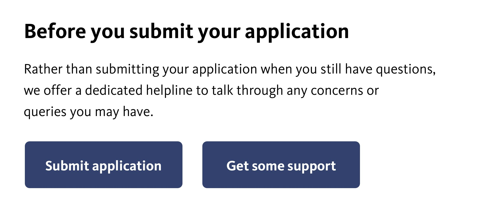 Image showing an application submission with two equally prominent buttons