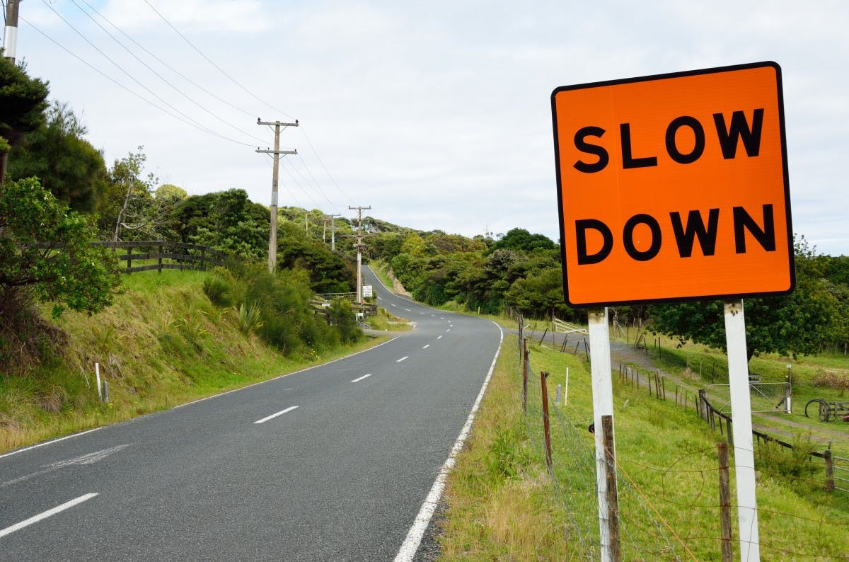 Road sign - Slow down