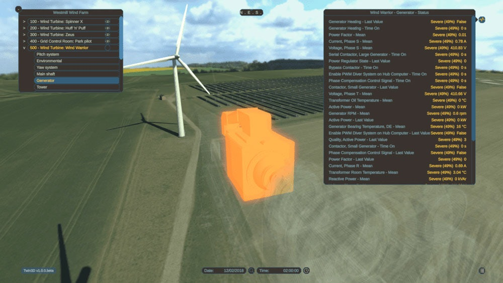 3D visualisation created by Agility3 for the WindTwin project