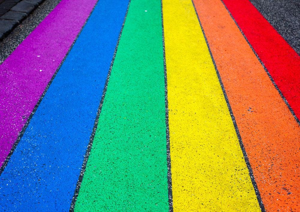 Pride Flag in the Streets of Reykjavik Iceland